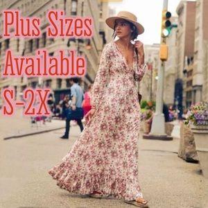 Romantic Rose Maxi Dress In Cotton